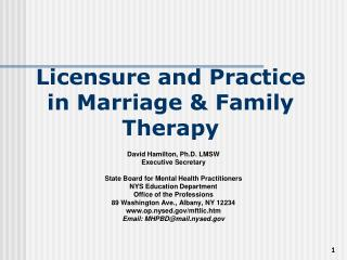 Licensure and Practice in Marriage & Family Therapy