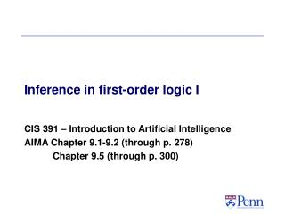 Inference in first-order logic I
