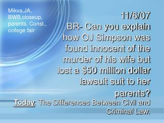 Today : The Differences Between Civil and Criminal Law.