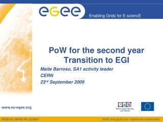 PoW for the second year Transition to EGI