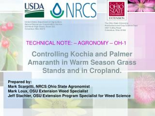 TECHNICAL NOTE: – AGRONOMY – OH-1