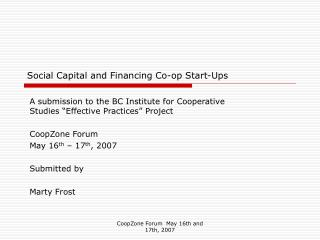 Social Capital and Financing Co-op Start-Ups