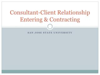Consultant-Client Relationship Entering & Contracting