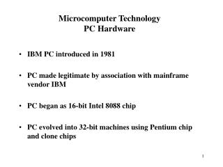 Microcomputer Technology PC Hardware