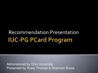 IUC-PG PCard Program