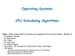 Operating Systems CPU Scheduling Algorithms