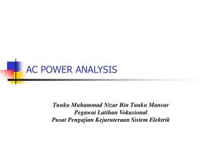 AC POWER ANALYSIS