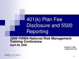 401(k) Plan Fee  Disclosure and 5500 Reporting