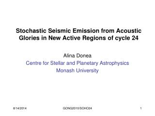 Stochastic Seismic Emission from Acoustic Glories in New Active Regions of cycle 24