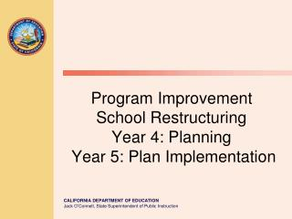 Program Improvement School Restructuring   Year 4: Planning  Year 5: Plan Implementation
