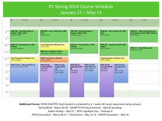 P1 Spring 2014 Course Schedule January 27 – May 15