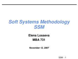 Soft Systems Methodology SSM