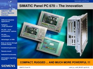 SIMATIC Panel PC 670 – The innovation