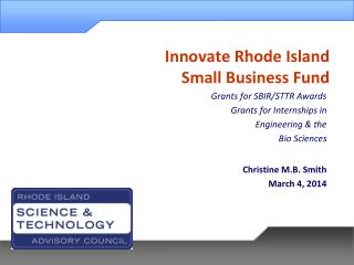 Innovate Rhode Island  Small Business Fund