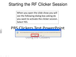 Starting the RF Clicker Session