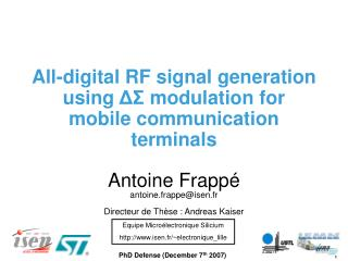 All-digital RF signal generation using  ΔΣ  modulation for mobile communication terminals