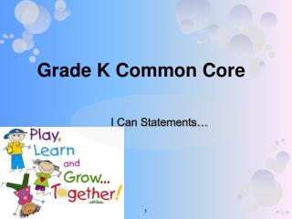 Grade K Common Core