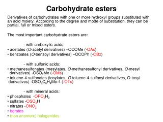 Carbohydrate e sters