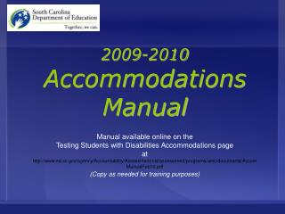 2009-2010 Accommodations Manual