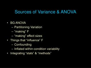 Sources of Variance & ANOVA