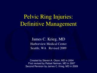 Pelvic Ring Injuries: Definitive Management