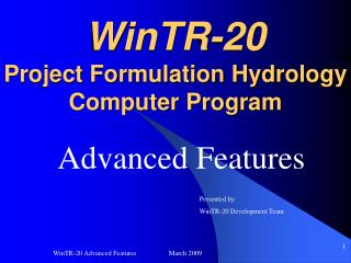 WinTR-20 Project Formulation Hydrology Computer Program