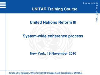 UNITAR Training Course