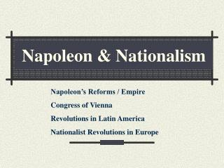 Napoleon & Nationalism