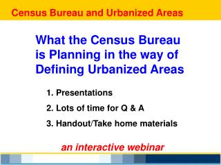 Census Bureau and Urbanized Areas