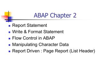 ABAP Chapter 2