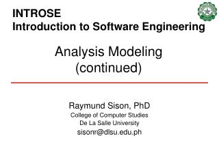 INTROSE  Introduction to Software Engineering