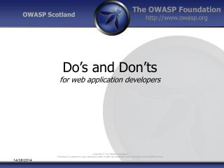 Do's and Don'ts for web application developers