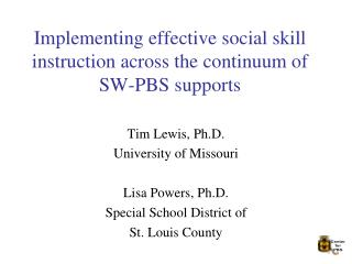 Implementing effective social skill instruction across the continuum of SW-PBS supports