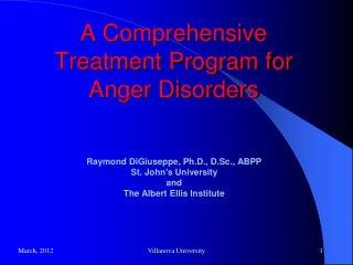 A Comprehensive Treatment Program for Anger Disorders
