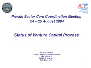 PSC Coordination Meeting Status of Venture Capital Process