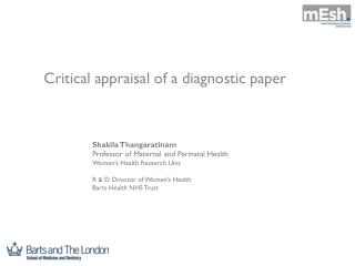 Critical appraisal of a diagnostic paper