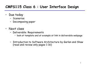CMPS115 Class 6 : User Interface Design