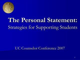 The Personal Statement: Strategies for Supporting Students