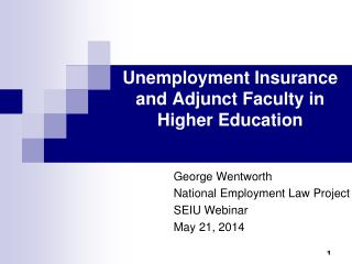 Unemployment Insurance and Adjunct Faculty in Higher Education