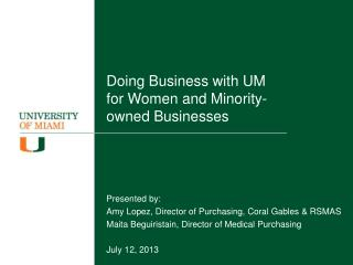 Doing Business with UM for Women and Minority-owned Businesses