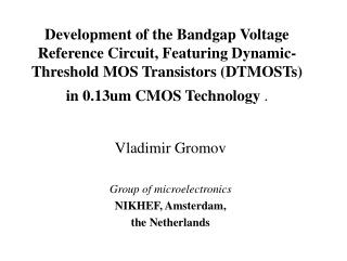 Vladimir Gromov Group of microelectronics NIKHEF, Amsterdam,  the Netherlands