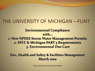 THE UNIVERSITY OF MICHIGAN – FLINT