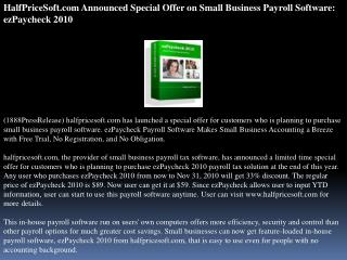 HalfPriceSoft.com Announced Special Offer on Small Business