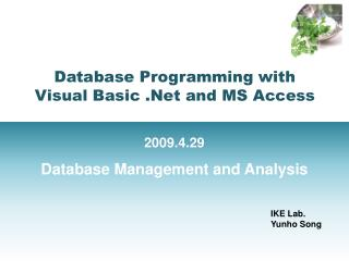 Database Programming with  Visual Basic .Net and MS Access