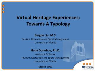 Virtual Heritage Experiences: Towards A Typology