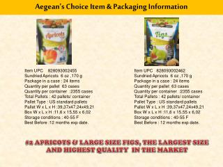 Aegean's Choice Item & Packaging Information