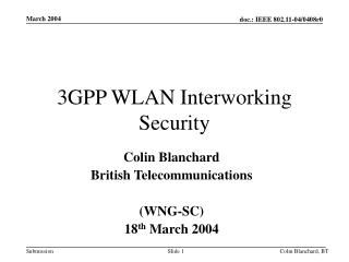 3GPP WLAN Interworking Security