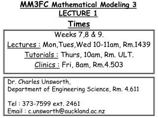 MM3FC  Mathematical Modeling 3 LECTURE 1