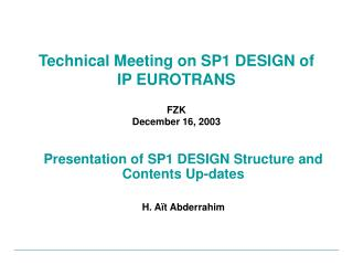 Technical Meeting on SP1 DESIGN of  IP EUROTRANS FZK December 16, 2003