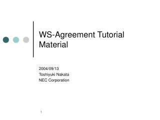 WS-Agreement Tutorial Material